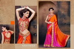 #Orange & #Magenta #Satin #Saree With #Silk #Blouse $75.64 www.fashionumang.com