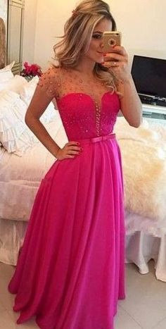 Tulle Prom Dresses,Hot Pink Prom Dress,Modest Prom Gown,Chiffon Prom Gowns,Beading Evening Dress,Princess Evening Gowns,Sparkly Party Gowns