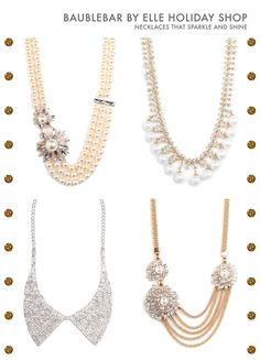 Jewelry Ideas : baublebar by elle holiday shop / color me caitie… these necklaces are perfect for the holiday season! Hair Jewelry, Beaded Jewelry, Jewellery, Jewelry Accessories, Fashion Accessories, Jewelry Ideas, Pretty Necklaces, Hello Gorgeous, Beautiful