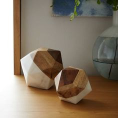 Marble + Wood Geometric Objects   west elm - Small and Large Ocetahedron - $88 for both (less 20% is $70.40)