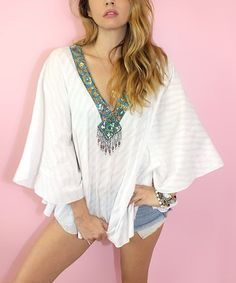 c80697db45 Loving this White Geometric Sequin-Accent Dolman Top - Women on  zulily!