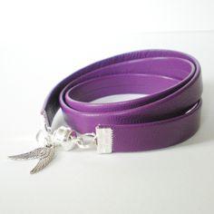 purple leather wrap bracelet, purple cuff, silver angel wings wrap, purple leather bracelet, boho jewelry, rocker style cuff, gift for her by jcudesigns on Etsy