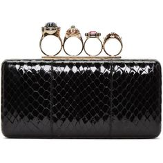Alexander McQueen Black Snakeskin Ring Box Clutch (€2.435) ❤ liked on Polyvore featuring bags, handbags, clutches, black, multi colored handbags, alexander mcqueen, hardcase clutch, box clutch and snakeskin clutches