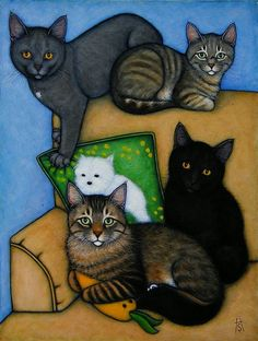 """Mallon Cat Family"" by Heidi Shaulis (commissioned work)"
