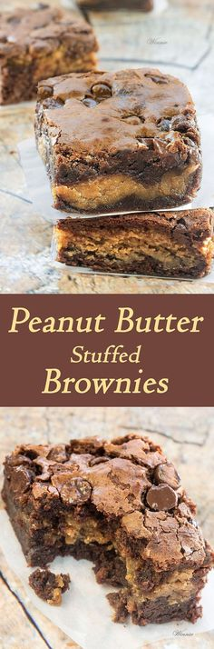The most delicious treat - Peanut Butter Stuffed Brownies scroll all the way down 13 Desserts, Delicious Desserts, Yummy Food, Italian Desserts, Brownie Recipes, Cookie Recipes, Dessert Recipes, Game Recipes, Recipes Dinner