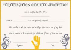 Child Adoption Certificates: 10 Free Printable And for Child Adoption Certificate Template – Amazing Certificate Template Ideas Birth Certificate Template, Adoption Certificate, Printable Certificates, Free Pet Adoption, Voter Card, Adoption Papers, Aadhar Card, Reference Letter, Unique Birthday Gifts