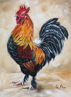 Rooster by Ilse Kleyn, oil on canvas. www.artofkleyn.com