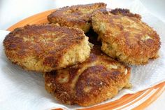 Salmon croquettes. To one can of salmon add one slice bread diced, dash of hot sauce, and one egg. Stir. Cook patties in a small amount of oil.