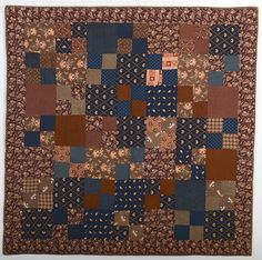Four patch crib quilt; circa 1879, Pennsylvania