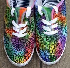 Zentangle sneakers, shoes, sneakers, zentangle art, original art, OOAK, womens…