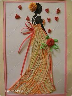 Картина панно рисунок Квиллинг Нежная любовь Бумажные полосы фото 4