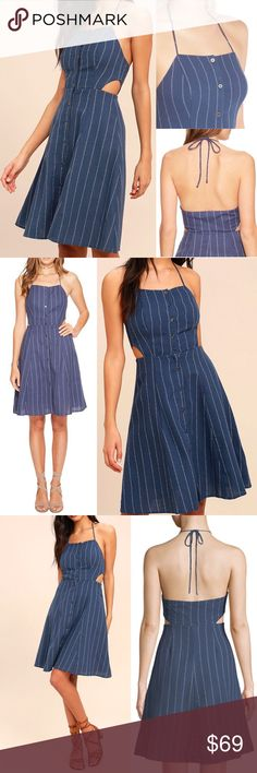 "Astr Paulina Cutout Halter Dress Pinstripe Sexy S MSRP $110 Sold out!  Size S Color Blue Denim Stripe  No seaside adventure is complete without the Paulina Denim Blue Striped Halter Dress! Textured cotton fabric w/a denim blue+white striped print shapes a tying halter neckline+princess-seamed bodice w/cute side cut outs Full button placket leads to a flaring skirt Spaghetti straps Fit and flare silhouette  NWT; no flaws 100% cotton Lining 100% rayon Dry clean  Measures flat approx"" Length 33…"