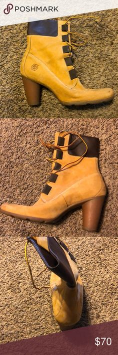 Timberland heel boots Fairly new condition it just has small scuff marks on the tip of shoe and back but can be fixed Timberland Shoes Heels