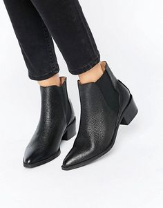 Selected | Selected Femme Lena Black Leather Grained Ankle Boots