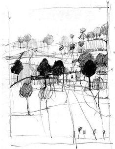 Landschaftszeichnungen: Paul Balmer You are in the right place ab Landscape Sketch, Landscape Drawings, Landscape Art, Landscape Paintings, Art And Illustration, Painting & Drawing, Drawing Sketches, Art Drawings, Art Du Croquis