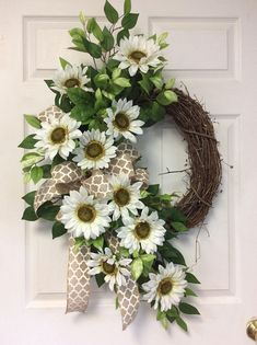 Welcome your guest with this white summer door wreath. I decorated this wreath with white sunflowers and mixed greenery with a neutral colored bow. This wreath would look great on a porch or front door of a home , it would also make a great gift. ❤ CUSTOM: Were happy to create