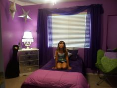 My daughters new purple & silver glam room