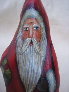 45 Painted Cypress Knee Santa for Christmas by SantaHeaven on Etsy, $18.00