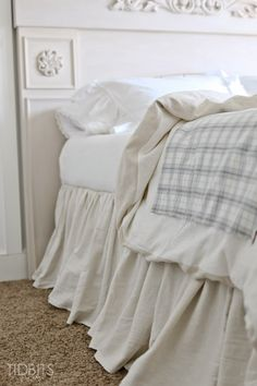 Gathered Bed Skirt made from a drop cloth or any fabric of choice. Time saving gathering technique included in tutorial. - by TIDBITS Bedding Master Bedroom, Guest Bedrooms, Girls Bedroom, Bedroom Decor, Bedroom Ideas, Cozy Bedroom, Design Bedroom, Guest Room, Homemade Beds