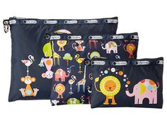LeSportsac 3 Piece Travel Set Zoo Cute 3 Pack Pouch - Zappos.com Free Shipping BOTH Ways