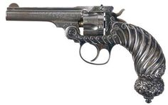 """""""Rare Historic and Deluxe Tiffany & Co. Smith & Wesson Double Action Model Revolver Exhibited by the Factory at the 1893 'World's Columbian Exposition' in Chicago"""". I filed this udder baubles bc of Tiffany World's Columbian Exposition, Lever Action Rifles, Fire Powers, Smith Wesson, Guns And Ammo, Firearms, Hand Guns, Winchester, Arsenal"""