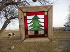 Christmas Tree Stained glass window by navajostainedglass on Etsy, $40.00