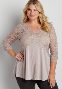 plus size lacy tunic top with tie back (original price, $42.00) available at #Maurices #wishpinwinsweepstakes #discovermaurices.