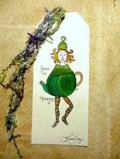 Green Tea Meditations Original Watercolor Bookmark Oversized Tag with Ribbon Tassel