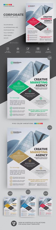 Corporate Flyer Template PSD - A highly versatile multipurpose corporate business flyer suitable for all business industry. Create stunning leaflet on the fly and streamline your workflow with this easy to edit template. Use this multipurpose flyer template to create traditional print advertising such as magazine advert, newspaper ads placement, promotional posters and all other ways you can think of. It comes in 5 color variation of blue, green, brown, red and yellow.