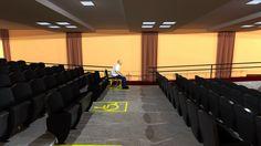 Auditório ESEFFEGO - Capacidade 100 pessoas. Palco em madeira, piso de concreto e carpete.   ESEFFEGO Auditorium - Capacity 100 people. Stage wood, concrete floors and carpet.  #VRAY #SketchUP #Arquitetura #Projeto #Maquete #3D #Architecture #Auditorium
