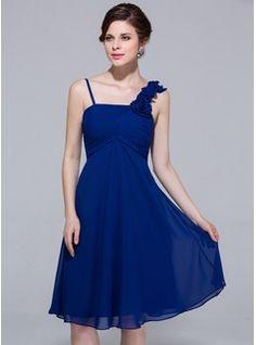 Empire Knee-Length Chiffon Bridesmaid Dress With Ruffle Flower(s) (007037246) - JJsHouse