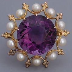Antique Jewelry Victorian Amethyst Brooch