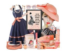 """Peachy Vintage Style  Won 1st Place: Vintage Dress Contest"" by sherrysrosecottage-1 ❤ liked on Polyvore featuring LE VIAN, Betsey Johnson, Too Faced Cosmetics, BCBGeneration, Fendi, Revlon, Belpearl and vintage"