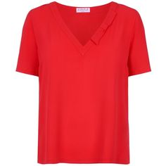 Claudie Pierlot Crepe Bow Blouse (610 SAR) ❤ liked on Polyvore featuring tops, blouses, bow top, red bow blouse, red v neck top, v neck tops and crepe blouse