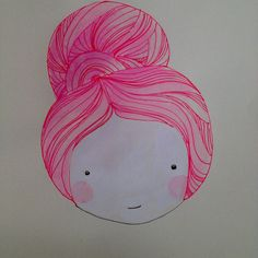 Pink bun and blush Lady with fab hair and beauty blushes original Illustrations