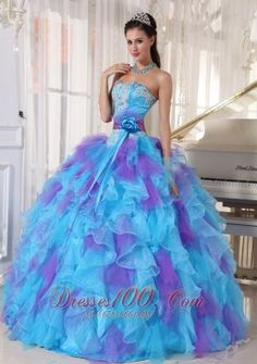 Popular Baby Blue and Purple Quinceanera Dress Strapless Organza Appliques Ball Gown - US$159.89