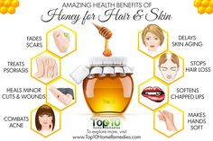 10 Amazing Benefits of Honey for Hair and Skin - Healthy Skin 🏻 Skin Tips, Skin Care Tips, Avocado Health Benefits, Honey Benefits, Tea Benefits, Home Remedies For Acne, Honey Hair, Healthy Skin Care, Healthy Food