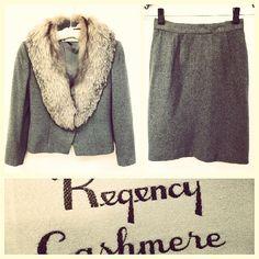 Vintage Regency Cashmere $3,000 gray cashmere skirt suit w/fox fur collar sz.XS #TriBeCa @resaleriches price: $650 www.resalerichesnyc.com