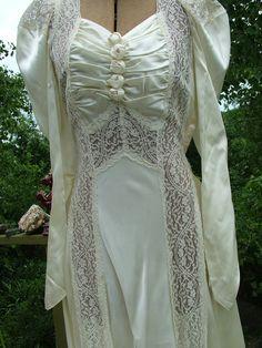 Wedding dress 1930s vintage bias cut with lace panels. $499.00, via Etsy.