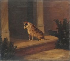 "Lot 53: Samuel John #Carter (1835-1892), Oil on canvas, #dog #portrait, A brindle #Terrier sat patiently on door step, Signed and dated 1882 lower right. 15 3/8 x 18"". (Father to Howard Carter famous Archaeologist of Tutankhamun fame)."