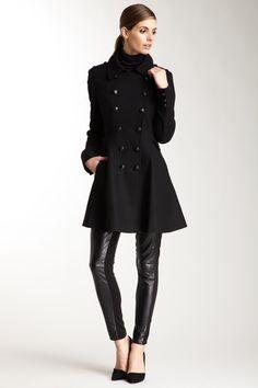 Via Spiga   Double Breasted Wool Blend Coat