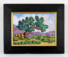 Scenic southwest landscape painting. Impressionist syle with a frame made of recycled wood by Robert Price. www.etsy.com/shop/robertpricegallery