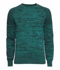 Fine-knit green melange sweater pattern-knit shoulder sections and round neckline   H&M US