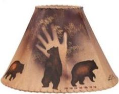 Handpainted bear lampshade...  for Rustic Log Cabin Decor