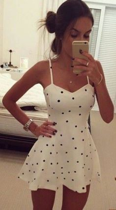 Nextshe fashion casual spaghetti strap dots women summer dress white s m l size