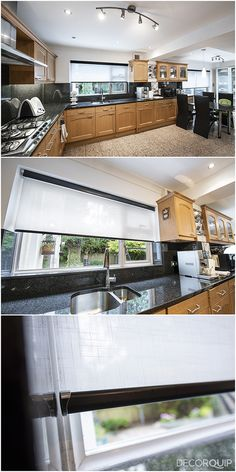 It's always a good idea to dress up the kitchen with roller blinds with transparent fabric. That's one of our Capital Collection fabrics-Kensington. Made To Measure Blinds, Roller Blinds, Blinds For Windows, Fabrics, Curtains, Mansions, House Styles, Kitchen, Dress