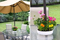 Use a bundt pan as a planter for a table with an umbrella. Love!!