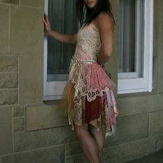 upcycled clothing . S  M . romantic tattered dress . door pondhopper
