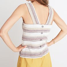 Madewell Apron Button-Back Tank Top in Stripe $45