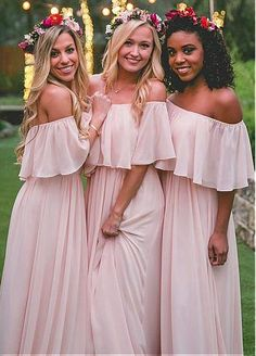 Attractive Chiffon Off-the-shoulder Neckline Floor-length A-line Bridesmaid Dress
